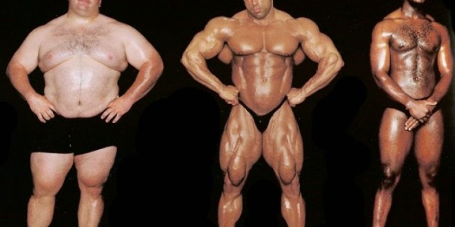Fat guy next to body builders